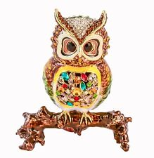 Colorful Owl on Branch Trinket Box. Hand Made with Enamel & Swarovski Crystals