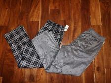 NEW Mens NAUTICA Sleepwear Set of 2 Gray Black Plaid Striped Soft Pajama Pants L