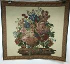 Vintage Italian Woven Floral Bouquet on Column with Decorative Border Tapestry