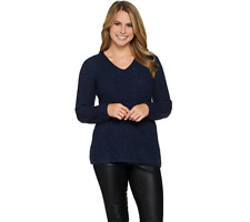 Lisa Rinna Collection V Neck Long Sleeve Sweater Size XXS Indigo Color