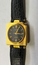 Ladies Ottimo Classic Analog Quartz Watch W/ Square 18KGP Case & Leather Band