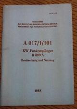 NVA VORSCHRIFT A 017/1/101 KW-FUNKEMPFÄNGER R 399 A
