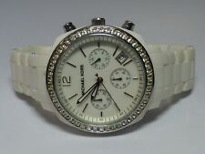 Ladies Michael Kors MK-5079 White Acrylic Crystal Accented Watch New Battery