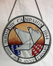 More details for ww2, normandy campaign commemorative stain glass panel, 50th anniversary 1944