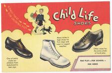 CHILD LIFE CHILDREN'S SHOES - Rare 1947 LINEN Ad Postcard