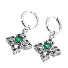 Pretty New 14K White Gold Filled Emerald Green CZ Dangle Drop Earrings