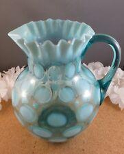 Vintage Blue Opalescent Glass Lemonade Water Serving Pitcher Polka Dot Coin Spot