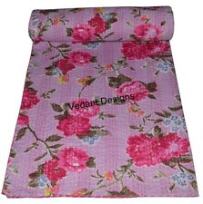 Handmade Bedspread Reversible Throw Reversible Queen Pink Floral Kantha Quilt