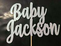 Custom Cake Topper Any Name/Word personalise customised Baby Shower Ice Blue