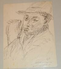 12 x 9 Inch Self-Portrait Ink Drawing of Artist Jennings Tofel- 1940s/1950s?
