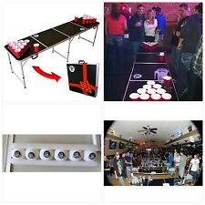 GoPong 8 Foot Portable Beer Pong / Tailgate Tables (Black, Football, American Fl