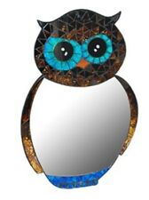 OWL MOSAIC MIRROR GLASS HOOT BIRD BROWN BLUE WALL HOME DECOR