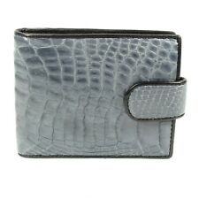 Real Grey Alligator Crocodile Leather Belly skin Mens Bi-fold Closure Wallet
