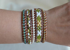 Green Five Wrap Bracelet Handmade Beads On Leather Beaded 35.25-36.25'' By Yevga