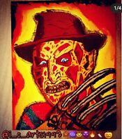 Freddy Krueger Acrylic 8x10 Canvas Painting