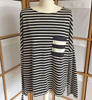 M&S Top Size 16 Black Cream Stripe Pocket Lightweight Jumper Long Sleeve