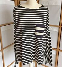 M&S Top Size 16 Black Cream Stripe Pocket Lightweight Jumper Long Sleeve
