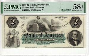 1860 $2 BANK OF AMERICA OBSOLETE REMAINDER PROVIDENCE RHODE ISLAND PMG AU 58 EPQ