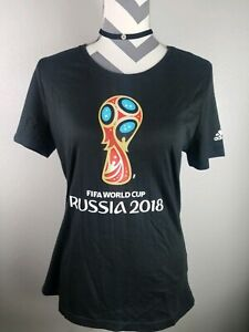 Adidas FIFA Russia 2018 World Cup Soccer Women's Black T-shirt Fitted Sz M