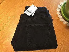 TOPSHOP MOTO MOM HIGH RISE DISTRESSED STUDDED BLACK ANKLE JEANS 25 X 26 NWT