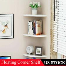 3X Corner Wall Shelves Shelf Rack Floating Mounted Storage Display Home Decor