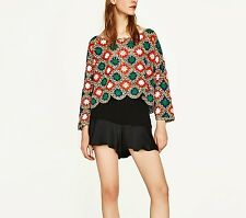 ZARA MULTICOLOURED BOATNECK LOOSE FIT CROCHET SWEATER SIZE S UK 6 8