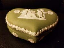 Vintage Sage Green Jasperware Heart Trinket Box England 3.5x2.5x1.5