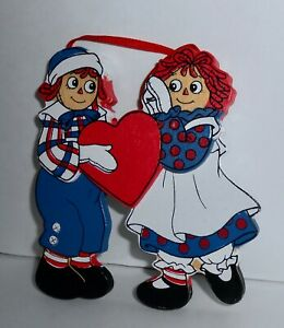 Kurt Adler Raggedy Anne & Andy 1991 Wood Ornament Macmillan Christmas Heart H16