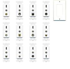 Custom Wall Plate 3 Port Insert Module White Female-F/F HDMI COAX + CUSTOM PORT
