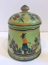 """Antique Henrior Quimper France GREEN Tobacco  Jar 5 1/2"""" c. 1920 RARE"""