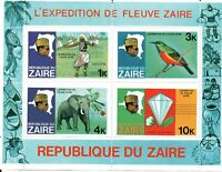 Zaire sheet: River Expedition - Worrier, Bird, Elephant, Diamond
