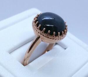 14K Rose Gold Dark Blue Star Sapphire size 6 3/4