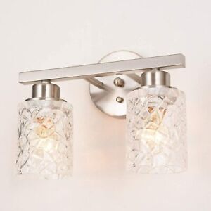 Alice House Brushed Nickel Glass Vanity Lights AL9082-W2 Heavy Glass shades