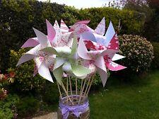 50 Mini Paper Pinwheels ASSEMBLED SPINNING tea party wedding baby shower