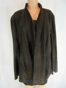 EILEEN FISHER WOMAN Chocolate Brown Suede High Collar Open Jacket  2X NWT