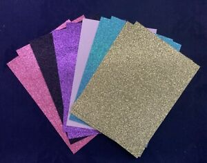 10 x Glitter Card Sheets-A6/C6 300gsm -Sparkling Pink/Gold/Black/SMALL/DEFECTS
