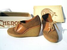 New listing Size 6 Cherokee Of California Vintage Wedge Shoes Boho Disco Leather Suede