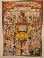 Hand Painted Mughal Maharajah Court Scene Darbar Miniature Painting India Art