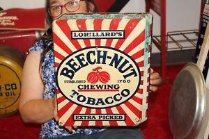 "Rare Vintage 1930's Lorillard's Beech-Nut Chewing Tobacco 15"" Metal Sign"