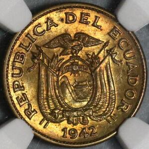 1942 NGC MS 65 Ecuador 5 Cinco Centavos Mint State BU Brass Coin (21011702C)