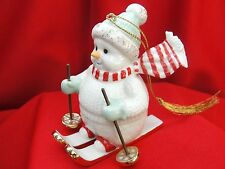 "Lenox Skiing Snowman 3 1/2"" Christmas Ornament 24k Hand Painted"