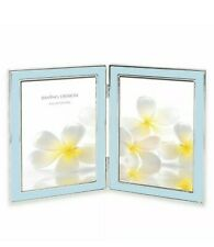 "Lura picture Frame By Swing Design Two 5x7"" light Blue Enamel & Silver Frame"