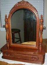 Vintage Antique Solid Cherry Dresser Chest Top Swivel Shaving Mirror Stand c1940