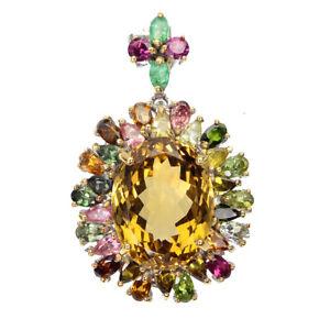 Handmade Oval Citrine 24.56ct Emerald Tourmaline 925 Sterling Silver Pendant