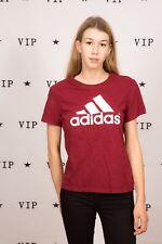 90s vintage burgundy & white Adidas logo print tshirt size S - unisex