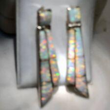 Ladies Long Opal Earrings Shards Chandelier White Sunset Glow Sterling Silver