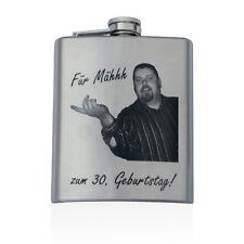 Flachmann 225ml 8oz mit Foto-Gravur Edelstahl Schnapsflasche Taschenflasche Logo