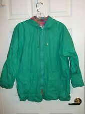 Women's Green Hooded Rain Coat By Misty Harbor size Large