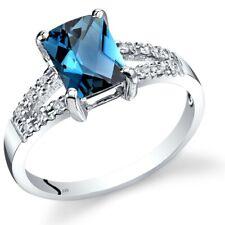14K White Gold London Blue Topaz Diamond Venetian Ring 1.75 Carats Size 7