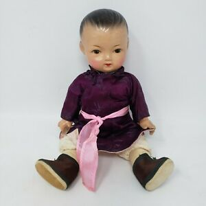 """Vintage 10"""" Jointed Composition Doll - Asian Style Clothing - Kimono"""